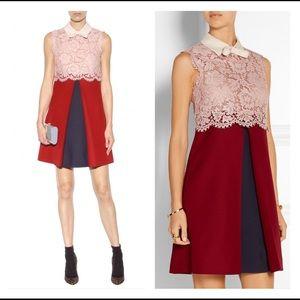 Valentino SPA Wool Silk Sheer Lace Top Dress